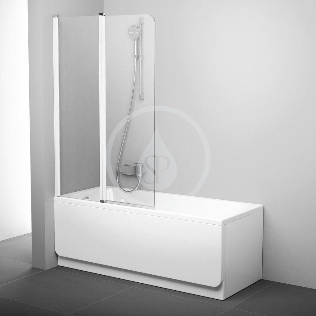 RAVAK - Chrome Vaňová zástena dvojdielna CVS2, ľavá, 990 mm x 1500 mm – farba biela, sklo transparent 7QLA0100Z1