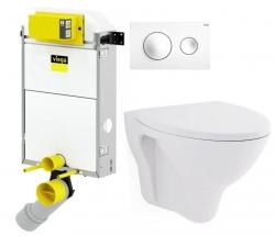 VIEGA Presvista modul PURE pre WC vrátane tlačidla Style 20 bielej + WC CERSANIT ARES + SEDADLO (V771928 STYLE20BI AR1)
