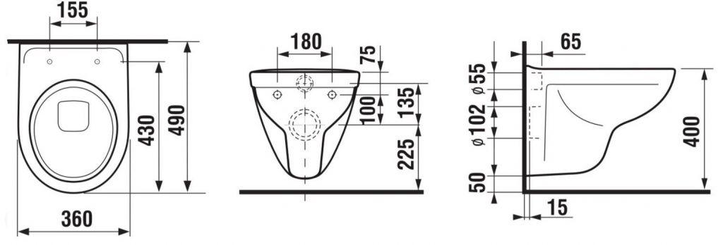 LAUFEN Rámový podomietkový modul CW1 SET s chrómovým tlačidlom + WC JIKA LYRA PLUS 49 + SEDADLO duraplastu SLOWCLOSE (H8946600000001CR LY4)