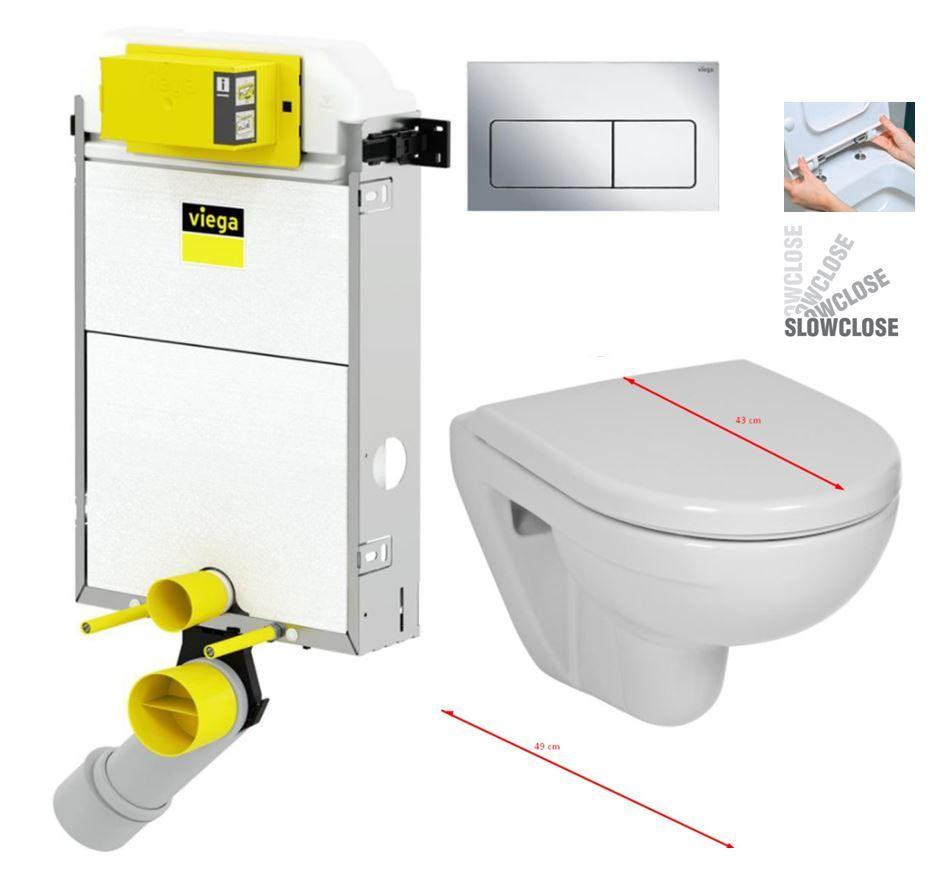 VIEGA Presvista modul PURE pre WC vrátane tlačidla Life5 CHROM + WC JIKA LYRA PLUS 49 + SEDADLO duraplastu SLOWCLOSE V771928 LIFE5CR LY4