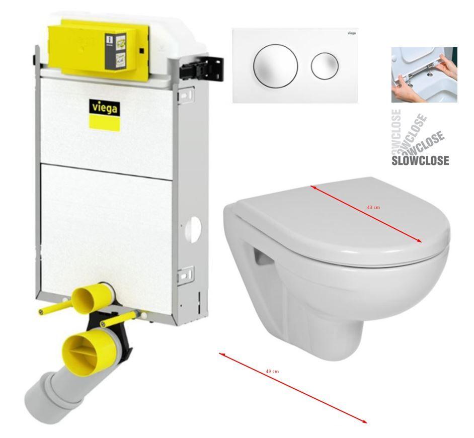 VIEGA Presvista modul PURE pre WC vrátane tlačidla Style 20 bielej + WC JIKA LYRA PLUS 49 + SEDADLO duraplastu SLOWCLOSE V771928 STYLE20BI LY4