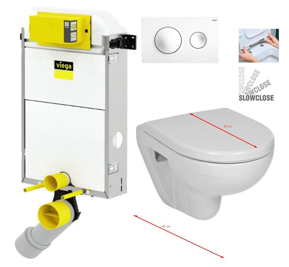 VIEGA Presvista modul PURE pro WC včetně tlačítka Style 20 bílé + WC JIKA LYRA PLUS 49 + SEDÁTKO DURAPLAST SLOWCLOSE (V771928 STYLE20BI LY4)