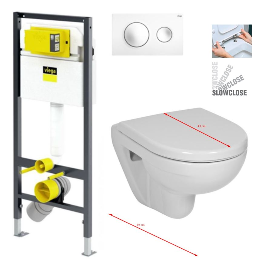VIEGA Presvista modul DRY pro WC včetně tlačítka Style 20 bílé + WC JIKA LYRA PLUS 49 + SEDÁTKO DURAPLAST SLOWCLOSE (V771973 STYLE20BI LY4)
