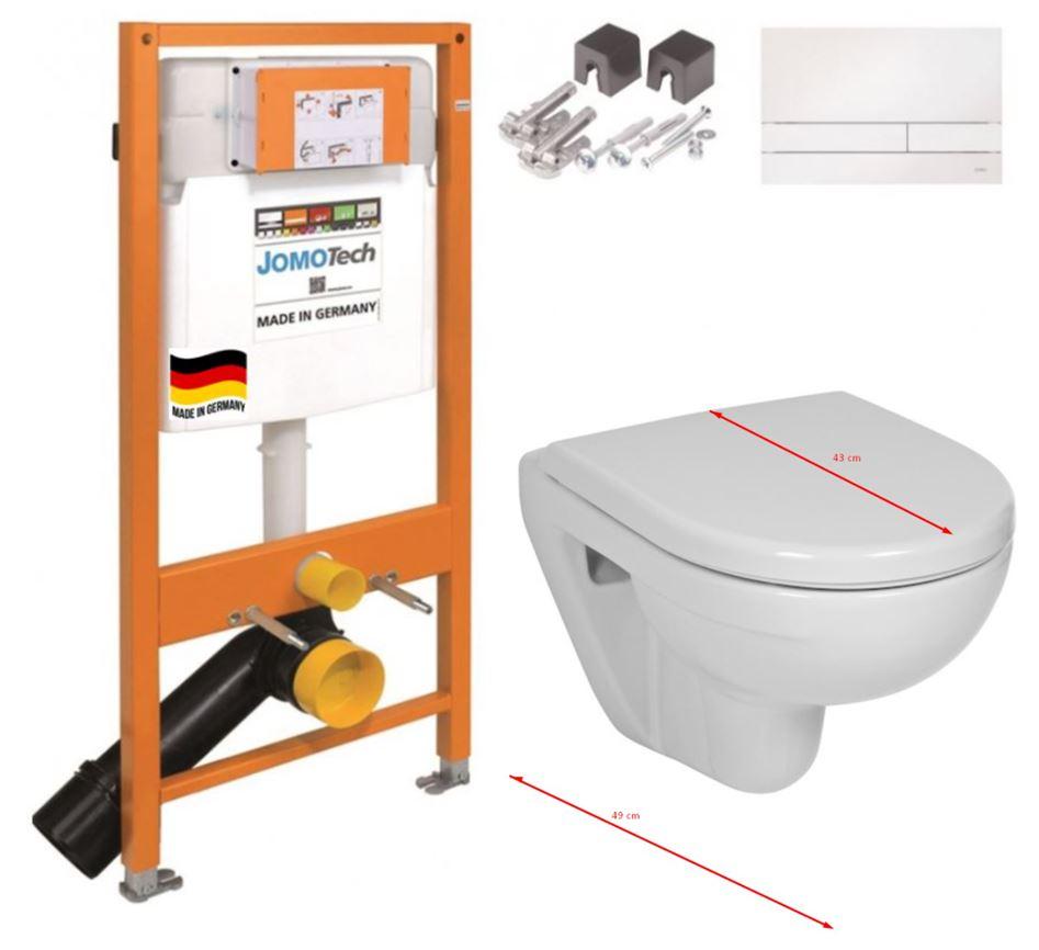 JOMO DUO modul pro závěsné WC s bílou deskou + WC JIKA LYRA PLUS 49 + SEDÁTKO DURAPLAST (174-91100900-00 LY3)