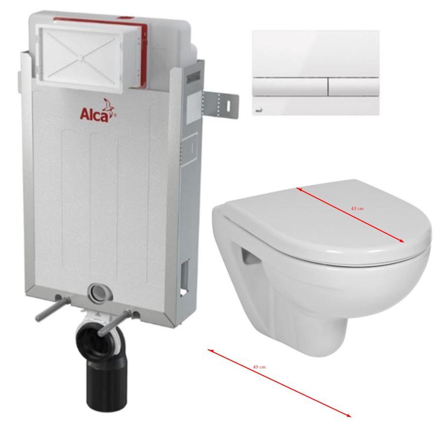ALCAPLAST Renovmodul - předstěnový instalační systém s bílým tlačítkem M1710 + WC JIKA LYRA PLUS 49 + SEDÁTKO DURAPLAST (AM115/1000 M1710 LY3)
