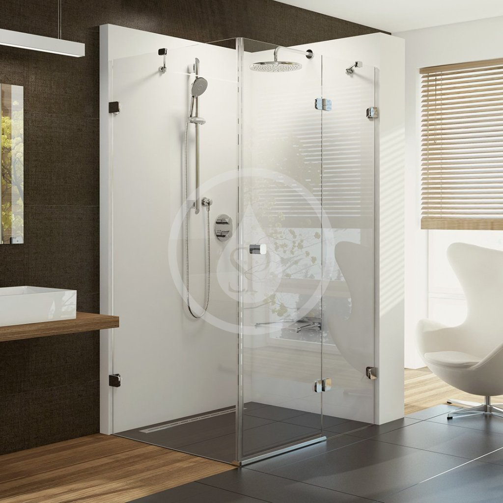 RAVAK - Brilliant Sprchové dvere dvojdielne s pevnou stenou BSDPS-120x90 R, pravé, 1183 mm – 1195 mm, farba chróm, sklo transparent 0UPG7A00Z1