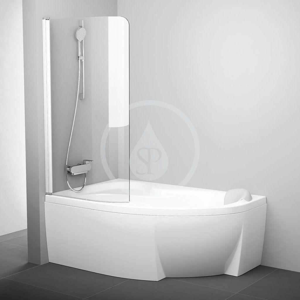 RAVAK - Chrome Vaňová zástena jednodielna CVSK1 Rosa, ľavá, 850 mm x 1500 mm – farba biela, sklo transparent 7QLM0100Y1