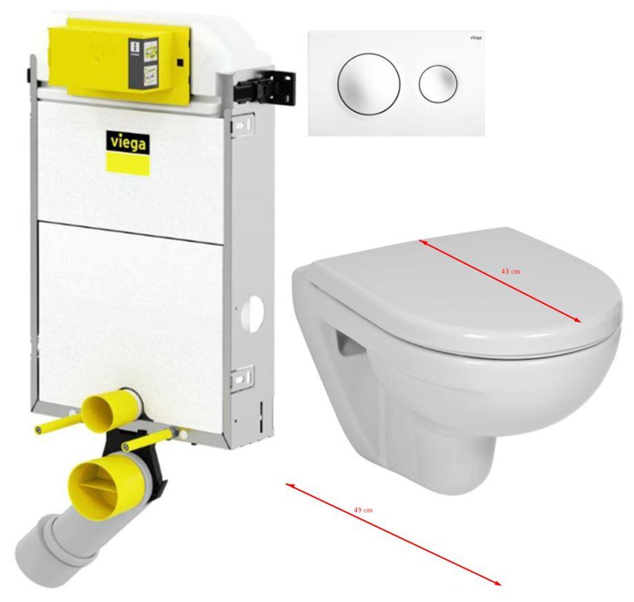 VIEGA Presvista modul PURE pro WC včetně tlačítka Style 20 bílé + WC JIKA LYRA PLUS 49 + SEDÁTKO DURAPLAST (V771928 STYLE20BI LY3)
