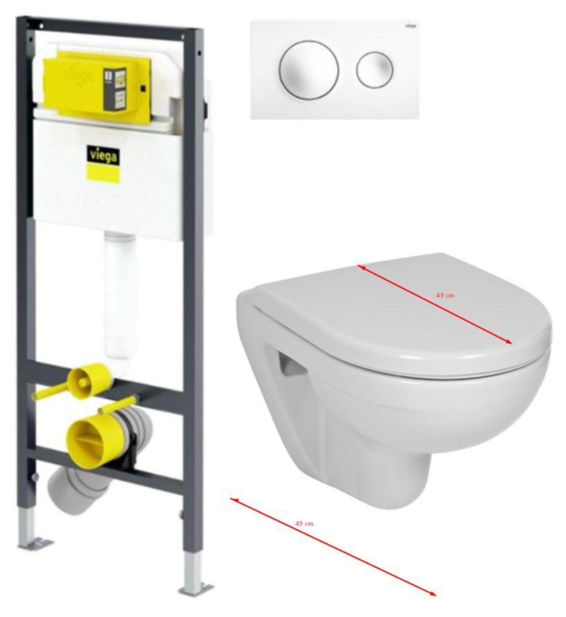 VIEGA Presvista modul DRY pro WC včetně tlačítka Style 20 bílé + WC JIKA LYRA PLUS 49 + SEDÁTKO DURAPLAST (V771973 STYLE20BI LY3)
