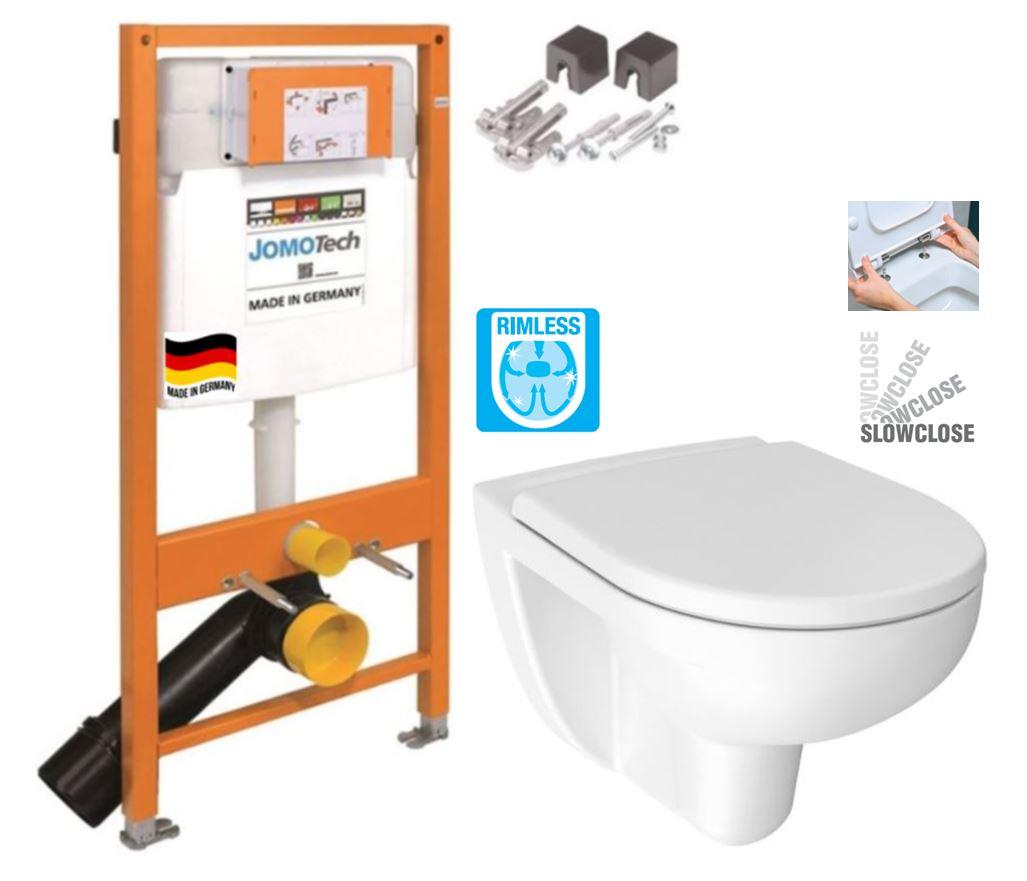 JOMOTech modul pre závesné WC bez sedátka + WC JIKA LYRA PLUS RIMLESS + SEDADLO duraplastu SLOWCLOSE 174-91100700-00 LY2