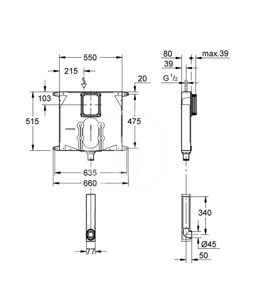 GROHE - Příslušenství Splachovacia nádržka na WC, pod omietku (38863000)