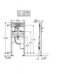GROHE - Rapid SL Predstenový inštalačný prvok na umývadlo, stavebná výška 113 cm (38748002), fotografie 2/1