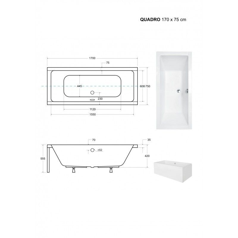 HOPA - Obdĺžniková vaňa QUADRO - Nožičky k vani - Bez nožičiek, Rozmer vane - 170 × 75 cm (VANQAUD170)