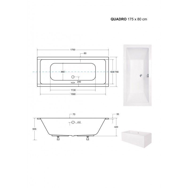 HOPA - Obdĺžniková vaňa QUADRO SLIM - Nožičky k vani - S nožičkami, Rozmer vane - 175 × 80 cm (VANQAUD175SLIM + OLVPINOZ)