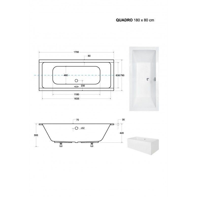HOPA - Obdĺžniková vaňa QUADRO SLIM - Nožičky k vani - Bez nožičiek, Rozmer vane - 180 × 80 cm (VANQAUD180SLIM)