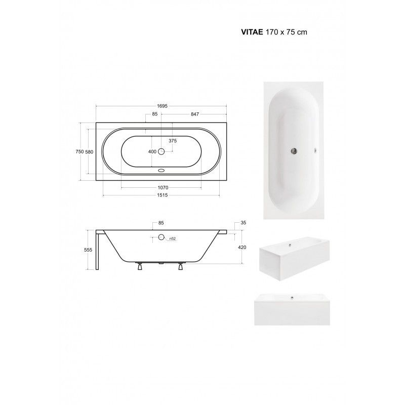 HOPA - Obdĺžniková vaňa VITAE - Nožičky k vani - Bez nožičiek, Rozmer vane - 170 × 75 cm (VANVITAE170)