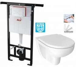 ALCAPLAST  Jádromodul - predstenový inštalačný systém bez tlačidla + WC JIKA LYRA PLUS RIMLESS + SEDADLO duraplastu SLOWCLOSE (AM102/1120 X LY2)