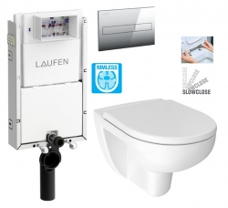 LAUFEN Podomít. systém LIS TW1 SET s chrómovým tlačidlom + WC JIKA LYRA PLUS RIMLESS + SEDADLO duraplastu SLOWCLOSE (H8946630000001CR LY2)