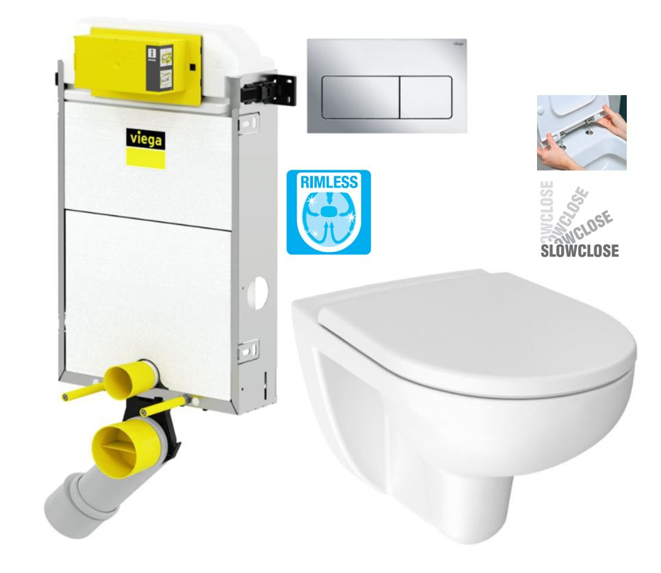 VIEGA Presvista modul PURE pro WC včetně tlačítka Life5 CHROM + WC JIKA LYRA PLUS RIMLESS + SEDÁTKO DURAPLAST SLOWCLOSE (V771928 LIFE5CR LY2)