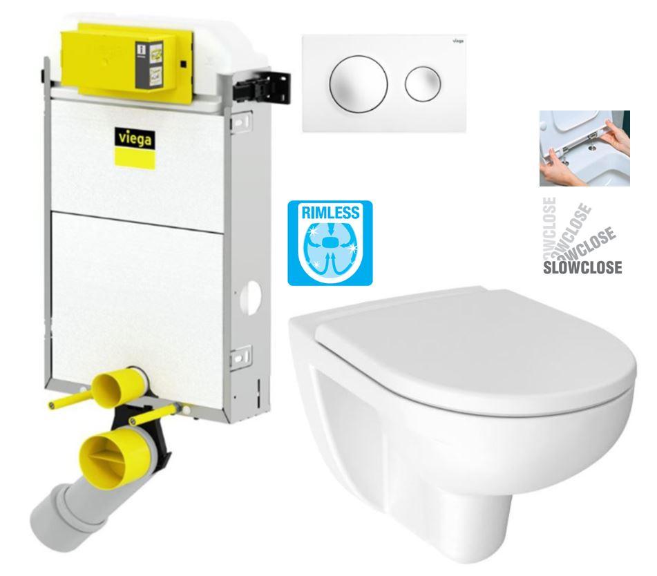 VIEGA Presvista modul PURE pro WC včetně tlačítka Style 20 bílé + WC JIKA LYRA PLUS RIMLESS + SEDÁTKO DURAPLAST SLOWCLOSE (V771928 STYLE20BI LY2)