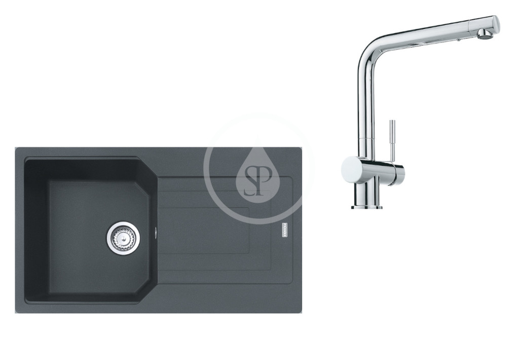FRANKE FRANKE - Sety Set G184, fragranitový dřez UBG 611-86 a baterie SAMOA, grafit/chrom (114.0619.680)