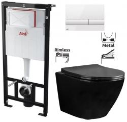ALCAPLAST  Sádromodul - predstenový inštalačný systém s bielym tlačidlom M1710 + WC REA CARLO MINI RIMFLESS ČERNÁ  + SEDADLO (AM101/1120 M1710 CL1)