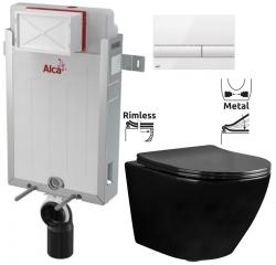 ALCAPLAST  Renovmodul - predstenový inštalačný systém s bielym tlačidlom M1710 + WC REA CARLO MINI RIMFLESS ČERNÁ  + SEDADLO (AM115/1000 M1710 CL1)
