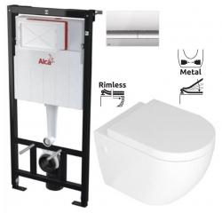 ALCAPLAST Sádromodul - predstenový inštalačný systém s chrómovým tlačidlom M1721 + WC REA CARLO MINI RIMFLESS + SEDADLO (AM101/1120 M1721 CM1)