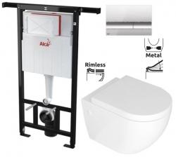 ALCAPLAST Jádromodul - predstenový inštalačný systém s chrómovým tlačidlom M1721 + WC REA CARLO MINI RIMFLESS + SEDADLO (AM102/1120 M1721 CM1)
