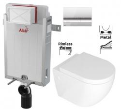 ALCAPLAST  Renovmodul - predstenový inštalačný systém s chrómovým tlačidlom M1721 + WC REA CARLO MINI RIMFLESS + SEDADLO (AM115/1000 M1721 CM1)