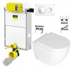 VIEGA Presvista modul PURE pre WC vrátane tlačidla Style 20 bielej + WC REA CARLO MINI RIMFLESS + SEDADLO (V771928 STYLE20BI CM1)