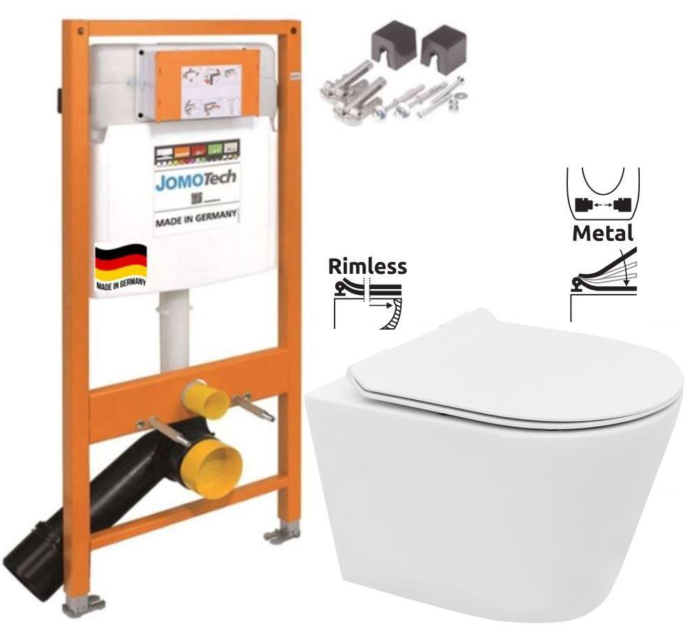 JOMOTech modul pre závesné WC bez sedátka + WC REA TOMAS RIMFLESS + SEDADLO 174-91100700-00 TO1