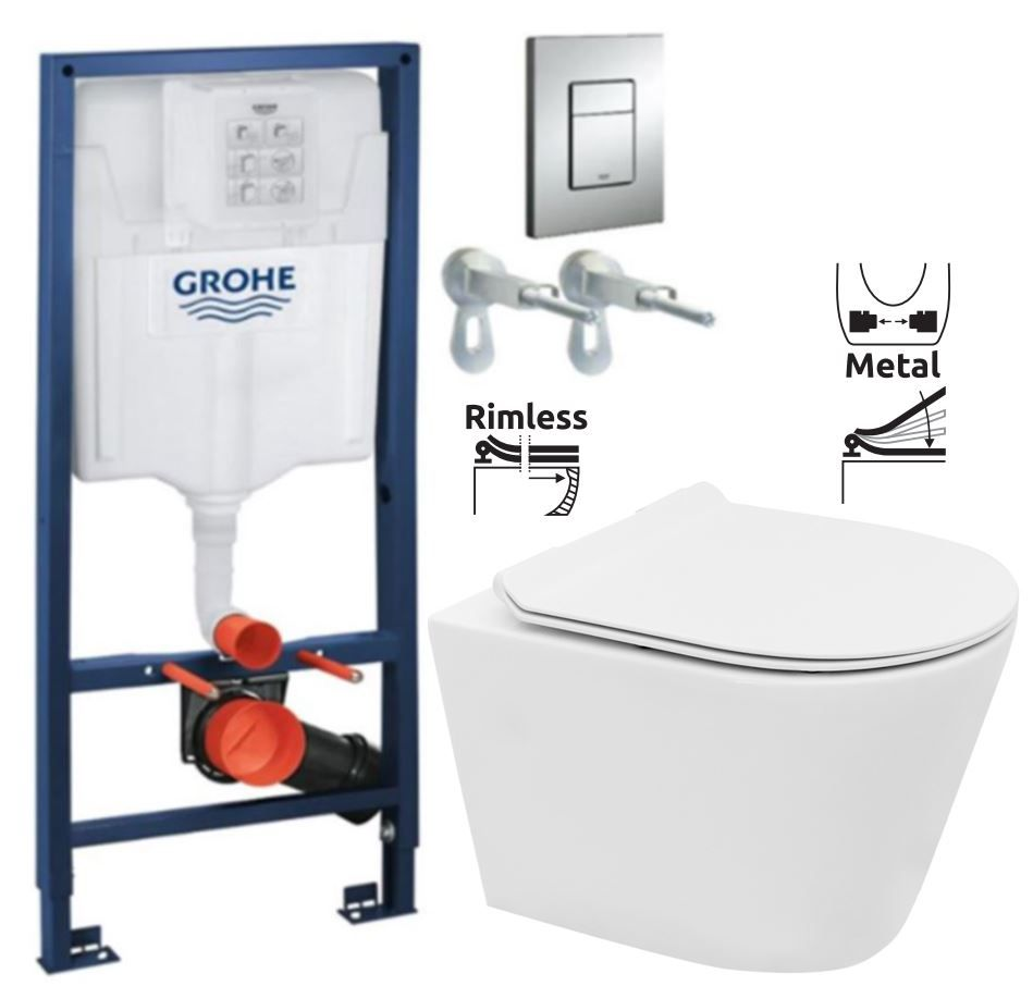 Rapid SL pre závesné WC 38528SET s chrómovou doskou + WC REA TOMAS RIMFLESS + SEDADLO 38772001 TO1
