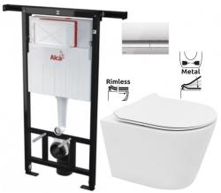 ALCAPLAST Jádromodul - predstenový inštalačný systém s chrómovým tlačidlom M1721 + WC REA TOMAS RIMFLESS  + SEDADLO (AM102/1120 M1721 TO1)