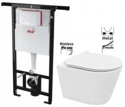 ALCAPLAST  Jádromodul - predstenový inštalačný systém bez tlačidla + WC REA TOMAS RIMFLESS  + SEDADLO (AM102/1120 X TO1)