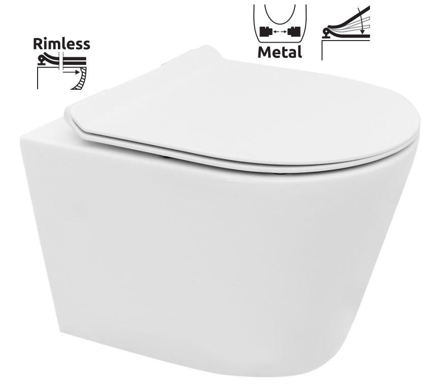 LAUFEN Podomít. systém LIS TW1 SET s bielym tlačidlom + WC REA TOMAS RIMFLESS  + SEDADLO (H8946630000001BI TO1)
