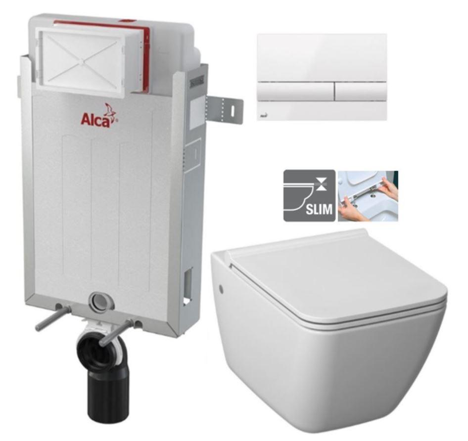 ALCAPLAST Renovmodul - předstěnový instalační systém s bílým tlačítkem M1710 + WC JIKA PURE + SEDÁTKO DURAPLAST (AM115/1000 M1710 PU1)