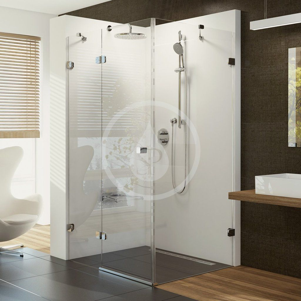 RAVAK - Brilliant Sprchové dvere dvojdielne s pevnou stenou BSDPS-100x80 L, ľavé, 983 mm – 995 mm, farba chróm, sklo transparent 0ULA4A00Z1