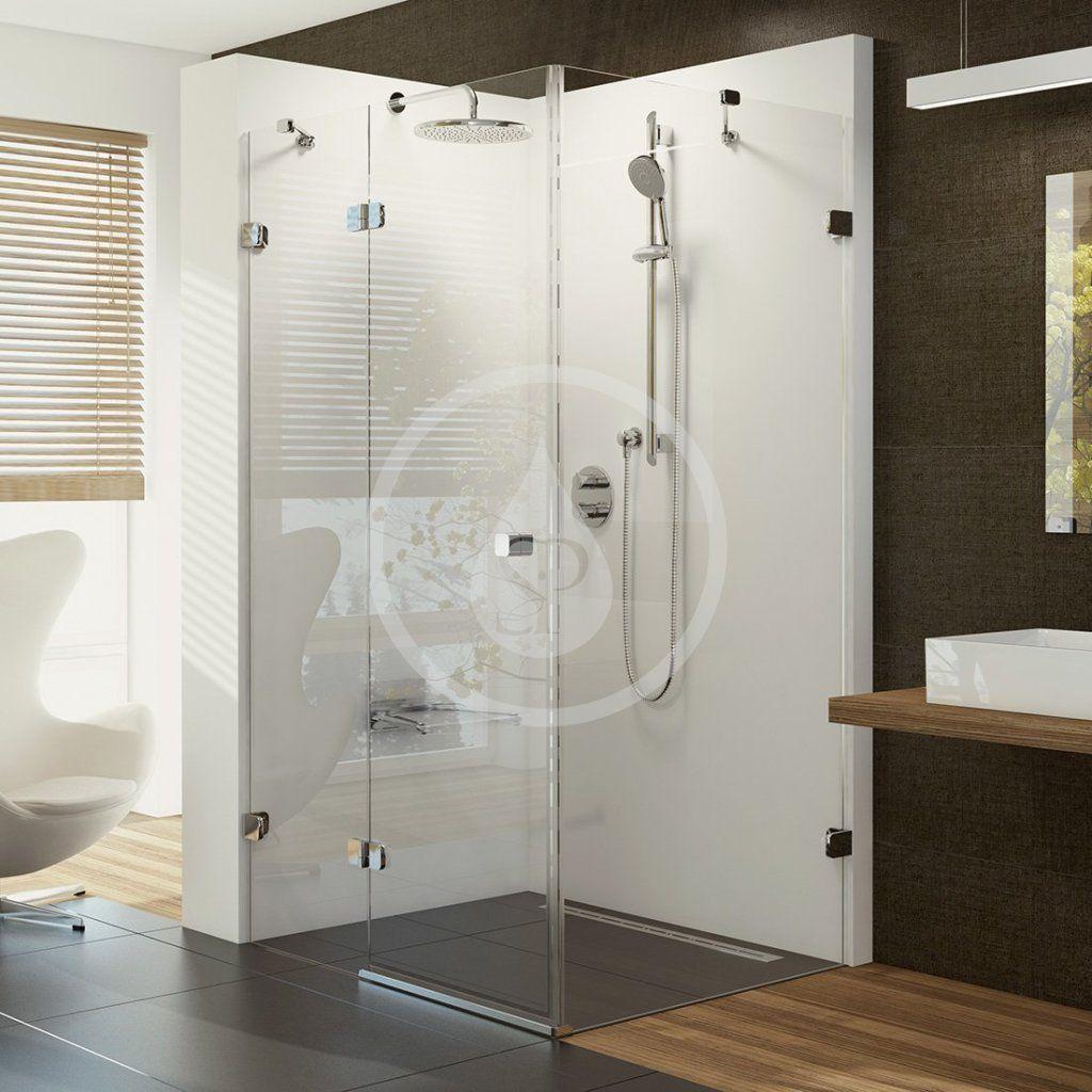 RAVAK - Brilliant Sprchové dvere dvojdielne s pevnou stenou BSDPS-120x80 L, ľavé, 1183 mm – 1195 mm, farba chróm, sklo transparent 0ULG4A00Z1