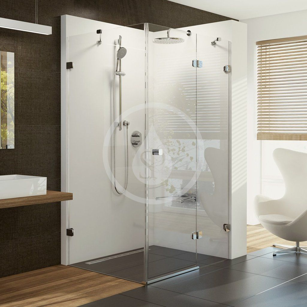 RAVAK - Brilliant Sprchové dvere dvojdielne s pevnou stenou BSDPS-120x80 R, pravé, 1183 mm – 1195 mm, farba chróm, sklo transparent 0UPG4A00Z1