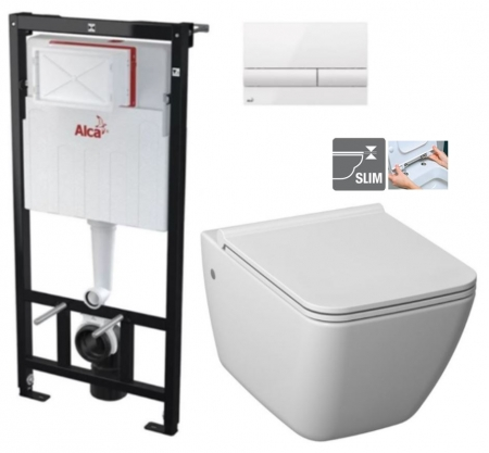 ALCAPLAST  Sádromodul - predstenový inštalačný systém s bielym tlačidlom M1710 + WC JIKA PURE + SEDADLO duraplast (AM101/1120 M1710 PU1)