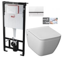 ALCAPLAST  Sádromodul - predstenový inštalačný systém s bielym / chróm tlačidlom M1720-1 + WC JIKA PURE + SEDADLO duraplast (AM101/1120 M1720-1 PU1)
