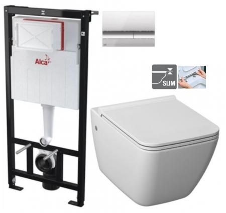 ALCAPLAST Sádromodul - predstenový inštalačný systém s chrómovým tlačidlom M1721 + WC JIKA PURE + SEDADLO duraplast (AM101/1120 M1721 PU1)
