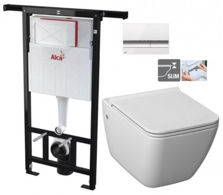ALCAPLAST Jádromodul - predstenový inštalačný systém s bielym / chróm tlačidlom M1720-1 + WC JIKA PURE + SEDADLO duraplast (AM102/1120 M1720-1 PU1)