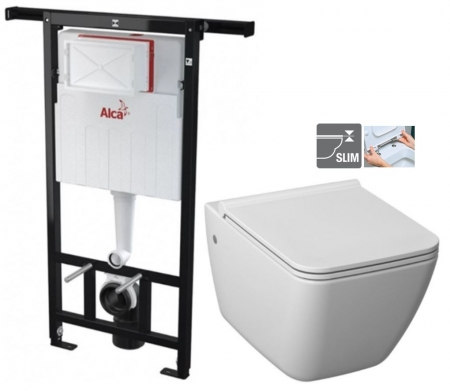 ALCAPLAST  Jádromodul - predstenový inštalačný systém bez tlačidla + WC JIKA PURE + SEDADLO duraplast (AM102/1120 X PU1)