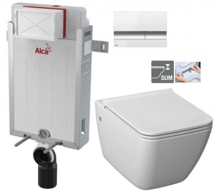 ALCAPLAST  Renovmodul - predstenový inštalačný systém s bielym / chróm tlačidlom M1720-1 + WC JIKA PURE + SEDADLO duraplast (AM115/1000 M1720-1 PU1)