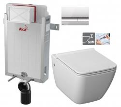 ALCAPLAST  Renovmodul - predstenový inštalačný systém s chrómovým tlačidlom M1721 + WC JIKA PURE + SEDADLO duraplast (AM115/1000 M1721 PU1)