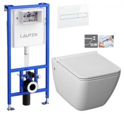 LAUFEN Rámový podomietkový modul CW1 SET s bielym tlačidlom + WC JIKA PURE + SEDADLO duraplast (H8946600000001BI PU1)