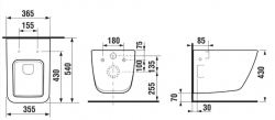 LAUFEN Rámový podomietkový modul CW1 SET s bielym tlačidlom + WC JIKA PURE + SEDADLO duraplast (H8946600000001BI PU1), fotografie 28/15