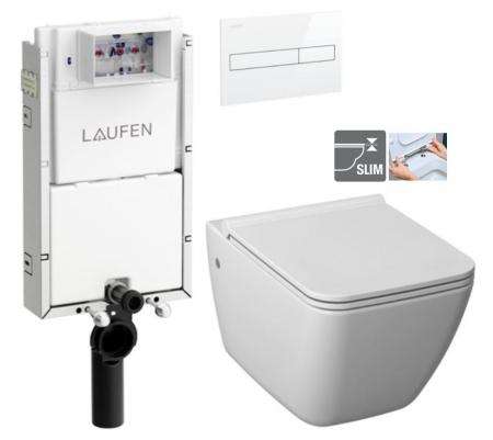 LAUFEN Podomít. systém LIS TW1 SET s bielym tlačidlom + WC JIKA PURE + SEDADLO duraplast (H8946630000001BI PU1)